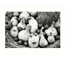 THERE IS A FUNNY FACE POTATO THERE!!! Food in B&W  Art Print
