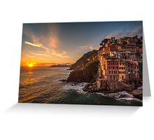 Riomaggiore Sunset Rolling Waves Greeting Card
