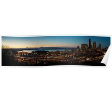Seattle South Sunset Panorama Poster