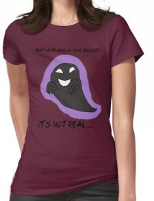 Lavender Town Ghost - Black Text Womens Fitted T-Shirt