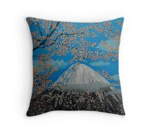 Mt. Fugi at Cherry Blossom Time Throw Pillow