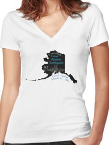 """""""I SURVIVED"""" GREAT ALASKAN EARTHQUAKE Women's Fitted V-Neck T-Shirt"""