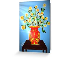 Yellow Bouquet on Blue Greeting Card