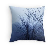 Dark Trees, Cold Fog Throw Pillow