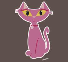 Sassy Pink Retro Cat One Piece - Short Sleeve