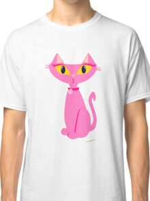 Sassy Pink Retro Cat Classic T-Shirt