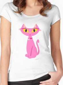 Sassy Pink Retro Cat Women's Fitted Scoop T-Shirt