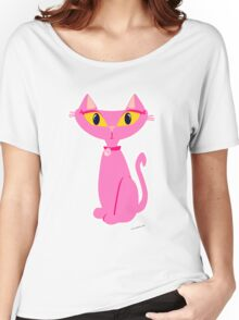 Sassy Pink Retro Cat Women's Relaxed Fit T-Shirt