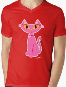 Sassy Pink Retro Cat Mens V-Neck T-Shirt
