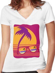 Sunglasses at Sunset Women's Fitted V-Neck T-Shirt