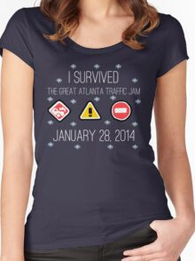 I Survived the Great Atlanta Traffic Jam- White Words Women's Fitted Scoop T-Shirt