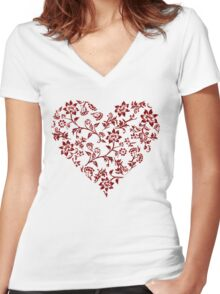 Red Floral Heart Women's Fitted V-Neck T-Shirt