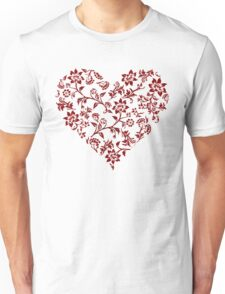 Red Floral Heart Unisex T-Shirt