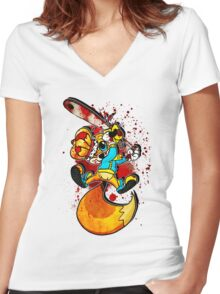 BAD FUR DAY Women's Fitted V-Neck T-Shirt