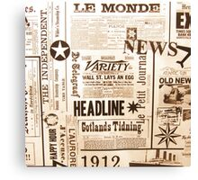 A vintage old news paper print typography  Canvas Print