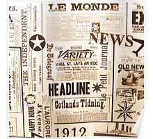 A vintage old news paper print typography  Poster