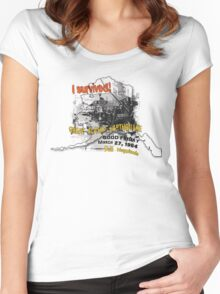 I SURVIVED GREAT ALASKA EARTHQUAKE W/ AK SILHOUETTE Women's Fitted Scoop T-Shirt