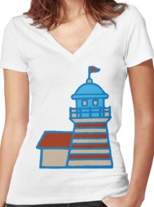 Cute Lighthouse Women's Fitted V-Neck T-Shirt