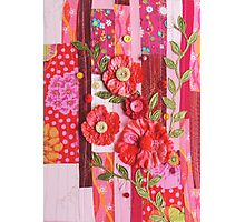 Textile wall art Red roses, patchwork fabric Photographic Print