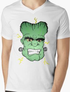 Frankenstein Head Mens V-Neck T-Shirt