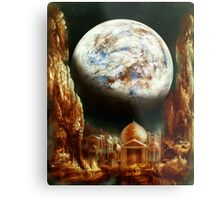 A City in Space, on a Moon the mass of Genemede... Metal Print