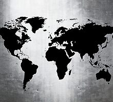 World Map Metal by Roz Abellera