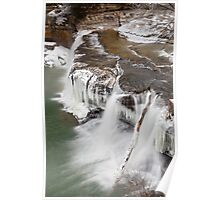 Winter Waterfall in Indiana Poster