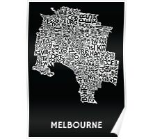 Melbourne Poster - White on Black Poster