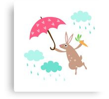 Cute rabbit with heart umbrella and rain clouds wall art for children Canvas Print