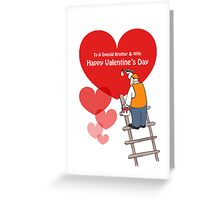 Valentine's Day Brother & Wife Cards, Red Hearts, Painter Cartoon Greeting Card