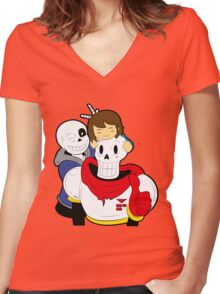 Undertale Sans and Papyrus Women's Fitted V-Neck T-Shirt