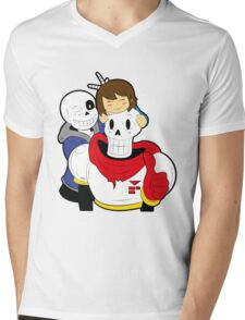Undertale Sans and Papyrus Mens V-Neck T-Shirt