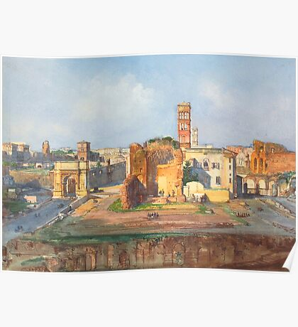 Ruined Landscape painting Poster