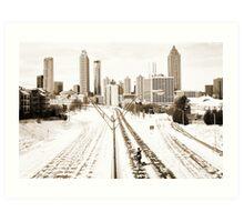 Atlanta Snowpocalypse 2014 - Rick Grimes on Freedom Parkway Art Print