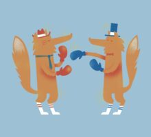 Posh Foxes like to Box while wearing Socks One Piece - Short Sleeve