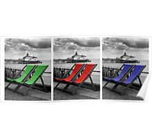 Pier and deckchairs x3 Poster