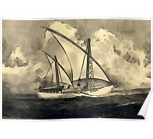 A sepia digital painting of An Ancient Arab Dhow Poster
