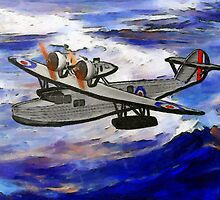 A digital painting of A Saro Cloud A29 of the Royal Air Force by Dennis Melling