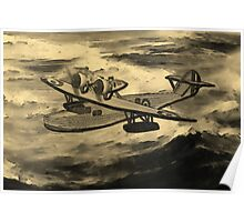 A sepia digital painting of A Saro Cloud A29 of the Royal Air Force Poster