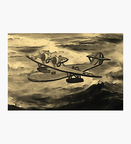 A sepia digital painting of A Saro Cloud A29 of the Royal Air Force Photographic Print