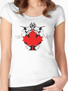 graphic maple leaf Women's Fitted Scoop T-Shirt