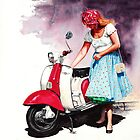Fifties Lambretta Girl by Peter Williams