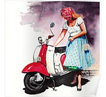 Fifties Lambretta Girl Poster