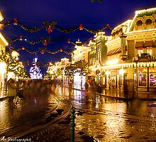 MainStreet USA Night Time Christmas (Disneyland Paris) by ThatDisneyLover