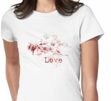Romantic Pen and Ink Roses Womens Fitted T-Shirt
