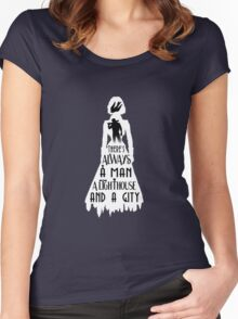 A Man, a Lighthouse and a City Women's Fitted Scoop T-Shirt