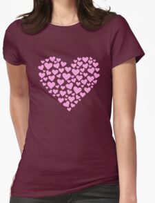 Pink Valentine Heart Womens Fitted T-Shirt