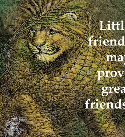 Lion and Mouse - Aesop Fable - Little friends Sticker