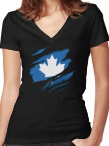 Canada Blue Leaf Women's Fitted V-Neck T-Shirt