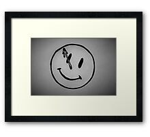 Watchmen Comedian Smiley Face Black and White Framed Print